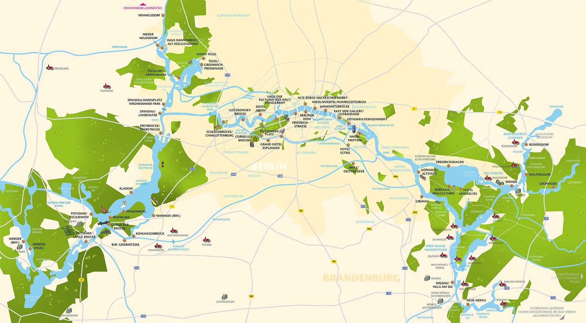 Karte mit Anlegern in Berlin und Brandenburg